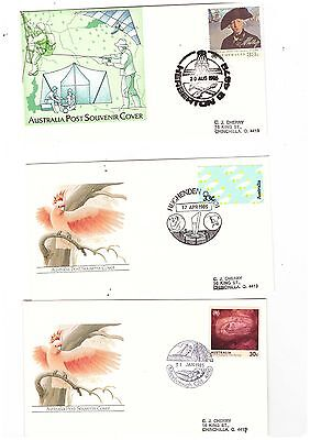 Australia 1985/86 Group of Covers  ( 3 covers )               lot no 2