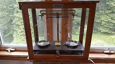 Rare Antique Scale In Glass & Wood Cabinet.