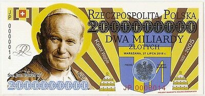 """POLAND 2 000 000 000 ZLOTYCH  Project collector note """"Pope John Paul II"""" UNC"""
