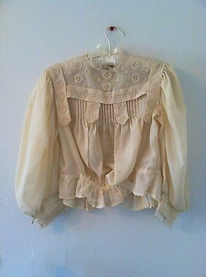 Antique Edwardian Cotton Ecru Blouse with Tucks and Embroidery 1910s Blouse