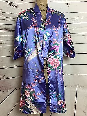 EUC Womens Juguemm Authentic Japanese Kimono Geisha Robe 35in Purple Peacock