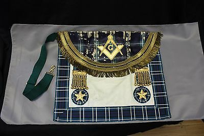 MASTER MASON APRON in LEATHER POUCH , lodge forbes no.67, with scarf