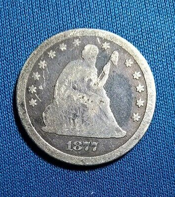 1877 Cc Seated Quarter (90 % Silver)