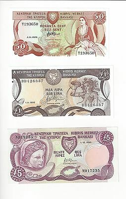 Cyprus 50 Cent  1 And 5 Pound All Three   Nice Unc