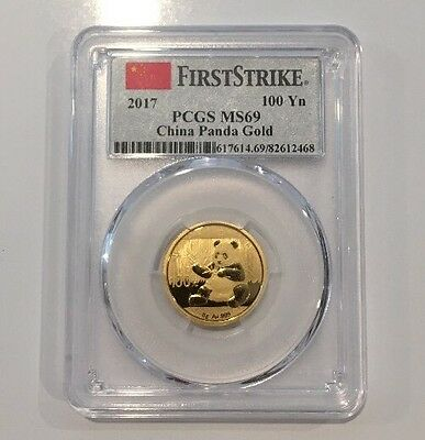 2017 100 Yuan China Gold Panda Coin 8 Grams .999 Gold PCGS MS69 First Strike