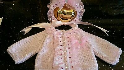 Hand Knitted Baby Cardigan And Bonnet Set  5/8Lb
