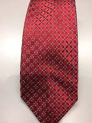Croft & Barrow 100% Silk Red And Silvers Repeat Pattern Tie