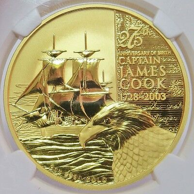 2003 Gold 2 Oz Cook Islands $200 James Cook Anniversary Coin Ngc Mint State 69