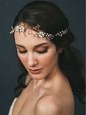 Venusvi Crystals Bridal Wedding Headband, Hair Vine and Headpiece, bridal hair
