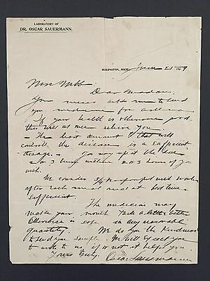 1899 Antique Medical Letter to Patient, ASTHMA Medicine- Lab in Burlington, Mich