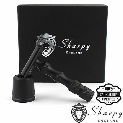Sharpy Pro Double Edge Stainless Black Safety Razor and Stand + Free Blades
