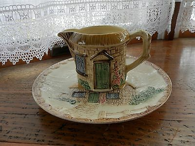 Sylvac England pottery country cottage creamer and plate