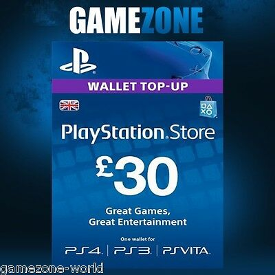 PlayStation Network £30 GBP - 30 Pounds PSN Store Card Key - PS4 PS3 PSP – UK