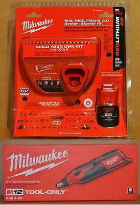 Milwaukee 2460-20 M12 Cordless Rotary Tool + 48-59-2420 2Ah Battery Charger Kit