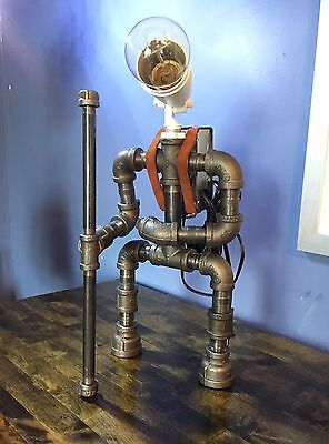 Robot Lamp Pipe Desk Lamp Hiking Industrial Decor Steampunk Lighting Man Cave