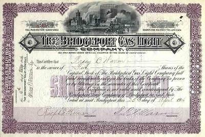 1916 Bridgeport Gas Light Stock Certificate