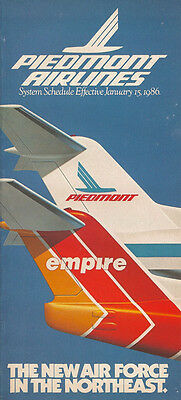 Piedmont Airlines system timetable 1/15/86 [308PI] Buy 2 Get 1 Free