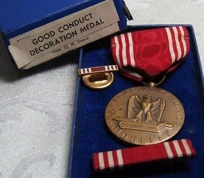 WWII Good Conduct Medal and Ribbons Lot Of 3 In Original Box