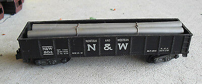 Vintage S Scale American Flyer Norfolk and Western 804 Gondola Car w Pipe Load