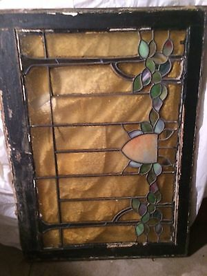 DAMAGED LARGE LEADED STAINED GLASS WINDOW From 1800's