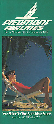 Piedmont Airlines system timetable 2/5/88 [308PI] Buy 2 Get 1 Free