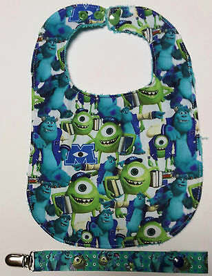 Monsters Inc 100% Cotton Baby Dribble Bib and  Matching Dummy Clip set UNISEX