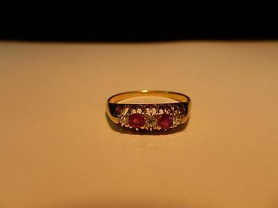 18CT Yellow Gold ( 3 ) Diamond And ( 2 ) Ruby Ring