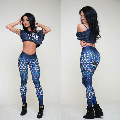 Women's Sports Gym Yoga  Fitness Workout Print Leggings Leotards Athletic Pants