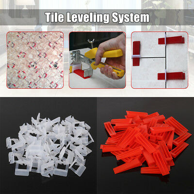 Tile Leveling System - 50x Clips 1mm +  50x Wedges Tile Leveler Spacers Lippage