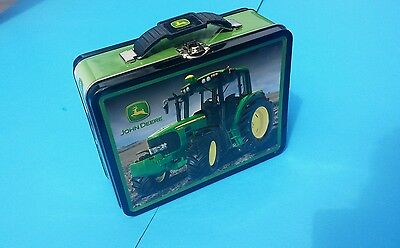 John Deere tin tote/ carry all lunch box one side smooth one side embossed
