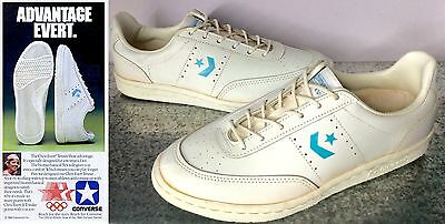 Converse Chris Evert 9 Vintage Leather Tennis Shoes Trainers White Blue 1984 USA