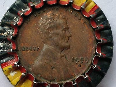1959 D Lincoln Cent Encased In A Dad's Root Beer Bottle Cap