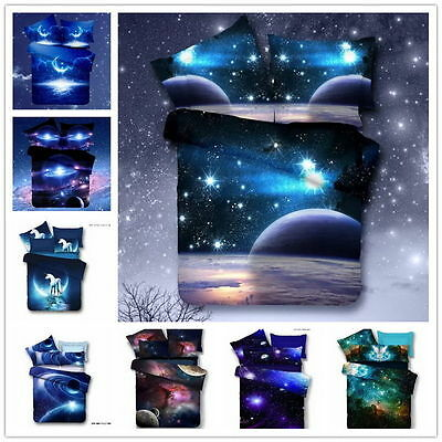 Fashion New 3D Galaxy Bedding Sets Universe Outer Space Duvet cover Bed Sheet