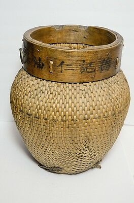Vtg Antique Chinese Asian Woven Willow Basket for Rice