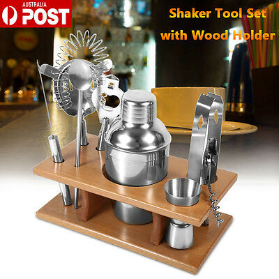 Stainless Steel Cocktail Shaker Mixer Drink Tool Set With Wood Holder Home/Bar
