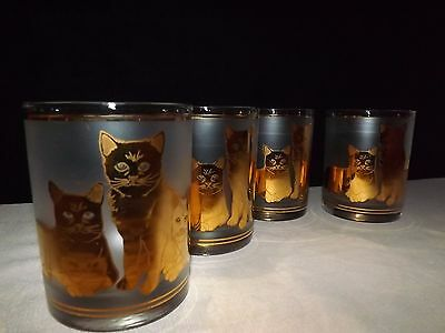 Culver Cat Glasses Frosted Glass 22K Gold / PURRFECT  SET OF 4