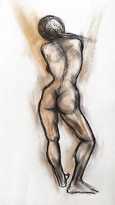 Original signed charcoal & pastel drawing of a nude female by Melbourne artist