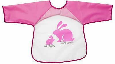 Playette Baby EVA Long-Sleeve Clean Eating and Playing Bib - Pink Bunny