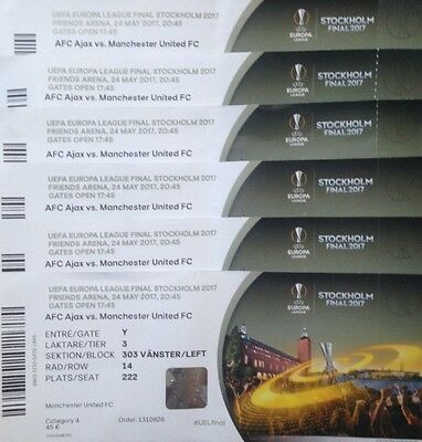 2017 AJAX v MAN MANCHESTER UNITED UTD EUROPA LEAGUE FINAL USED TICKET WITH NAMES