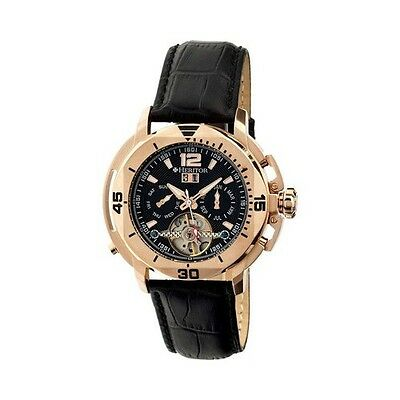Heritor Men's   Automatic HR2806 Lennon Watch Black Crocodile Leather/Black/Rose