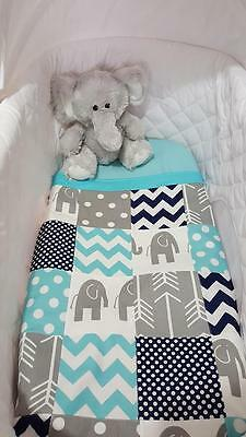 New Navy, Aqua and Grey Elephant patchwork design bassinet quilt set