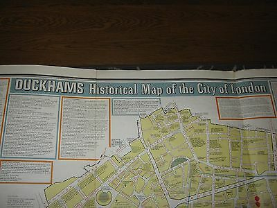 "Vintage Duckhams historical map of the city of London c. 1980 46 x 30"" ORIGINAL"
