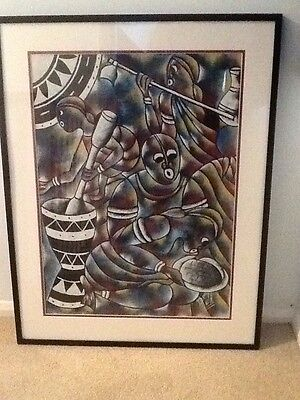 Large framed original modern Oil painting Tribal theme Collection Only Northants