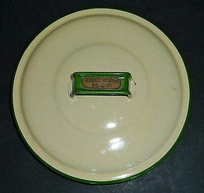 VINTAGE JUDGE BRAND cream & green ENAMEL16cm canister LID only REPLACEMENT PART