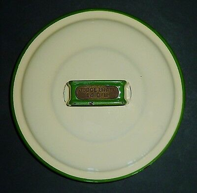 VINTAGE JUDGE BRAND cream & green ENAMEL14cm canister LID only REPLACEMENT PART