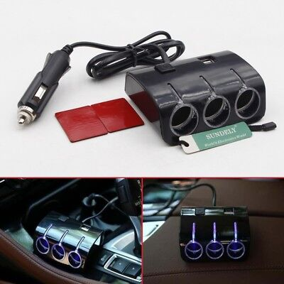 UK Triple 3Way Car Cigarette Lighter Adapter Power Socket Splitter Charger Black