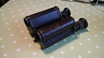 Antique Ross Patent Leather Covered Binoculars Prism X 12 A/f
