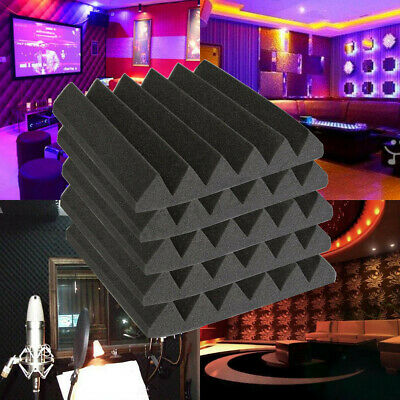 30X30X5CM Studio Acoustic Foam Sound Absorption Treatment Panel Tile Wedge Black