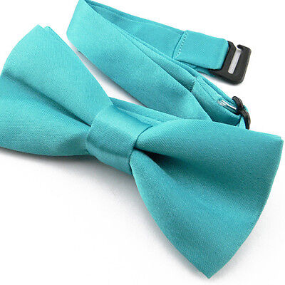 Noeud Papillon Enfant Réglable Satin Turquoise - Children Bow Tie Adjustable