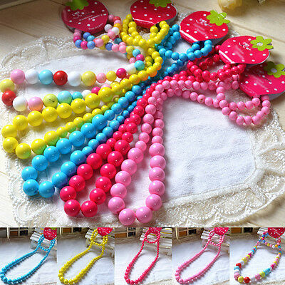 Colorful Bead Necklace&Bracelet Set Princess Cartoon Jewelry Gift Kids Girls